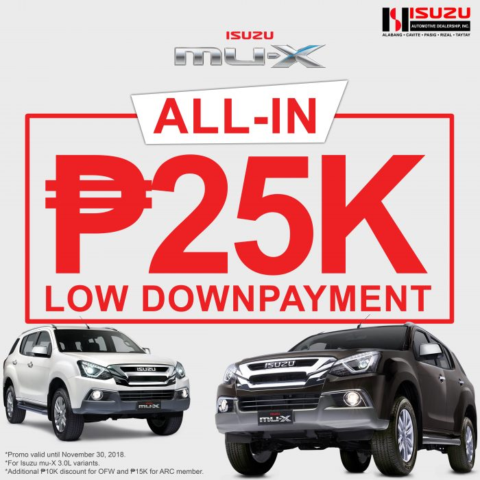 Isuzu mu-X P25K All-in Low Downpayment